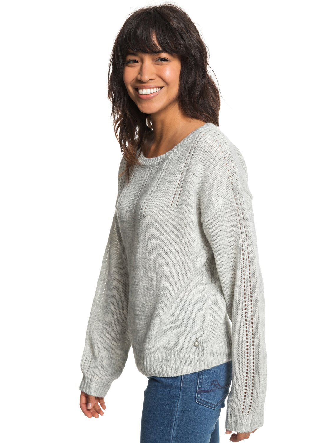 8fa06343800 1 Sunny Street - Pull col rond pour Femme Gris ERJSW03285 Roxy