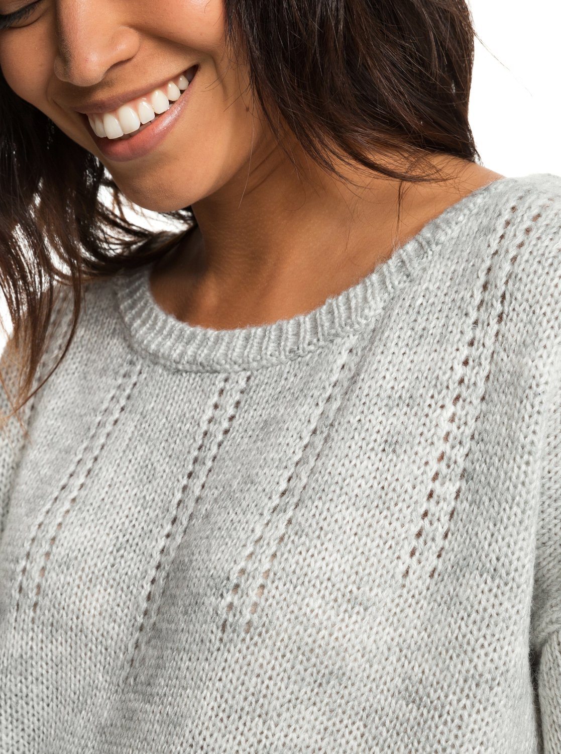 6738fa9d982 2 Sunny Street - Pull col rond pour Femme Gris ERJSW03285 Roxy
