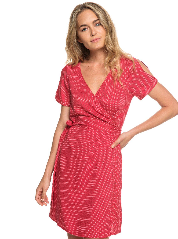 6aad272edd78fc 0 Monument View - Short Sleeve Wrap Dress Red ERJWD03249 Roxy