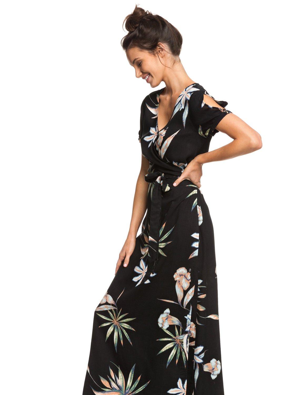 75d165f141810e 1 Lotus Heart - Maxi jurk met korte mouwen voor Dames Black ERJWD03287 Roxy