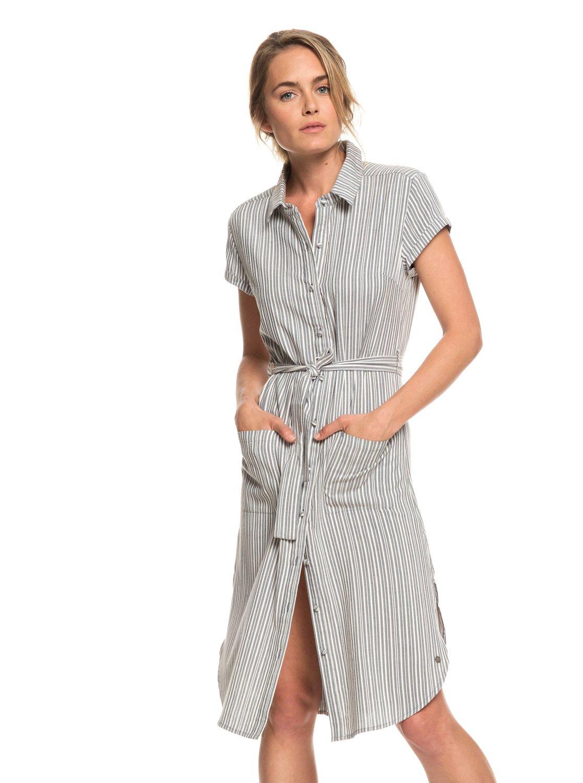 131f91db2c0b 0 Sunday Morning Market Short Sleeve Shirt Dress Black ERJWD03303 Roxy