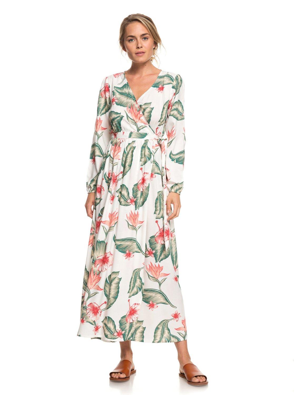 75efceba7bc8e0 1 Taste Of Tomorrow Long Sleeve Wrap Dress White ERJWD03309 Roxy