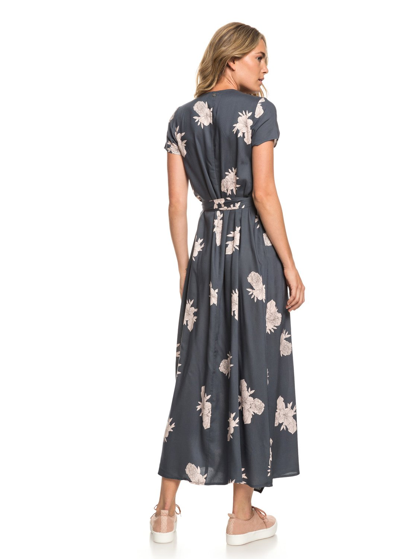 1d38165f906e 3 District Day Short Sleeve Maxi Dress Black ERJWD03317 Roxy
