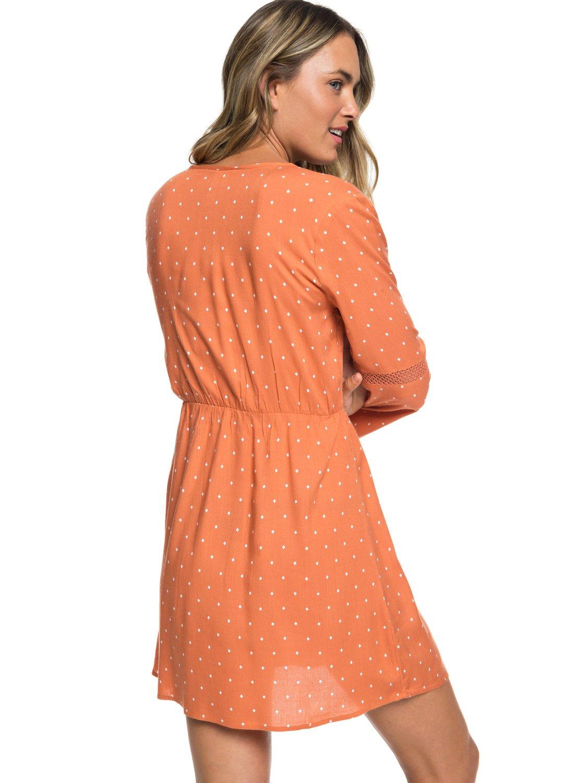 5ddc3346ef 5 Crochet Heart Long Sleeve Dress Orange ERJWD03330 Roxy