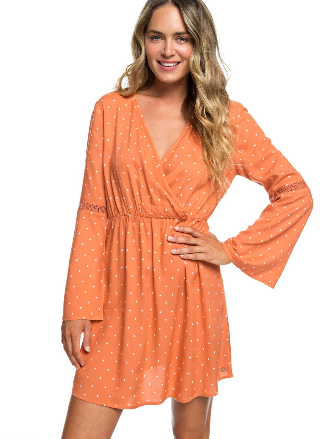 Crochet Heart Long Sleeve Dress Erjwd03330 Roxy