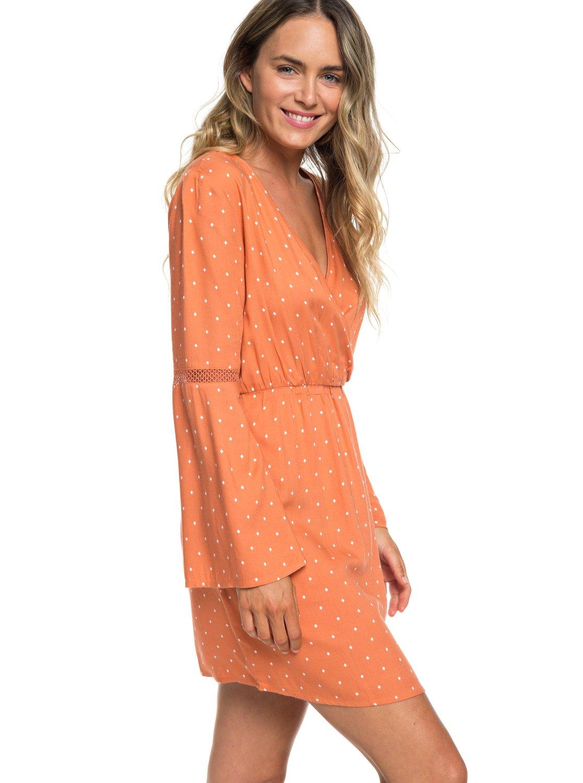 17cfdace5b 1 Crochet Heart Long Sleeve Dress Orange ERJWD03330 Roxy