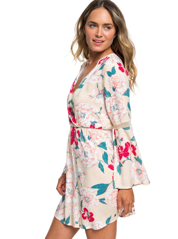 3e56c6efe0 0 Crochet Heart Long Sleeve Dress Beige ERJWD03330 Roxy