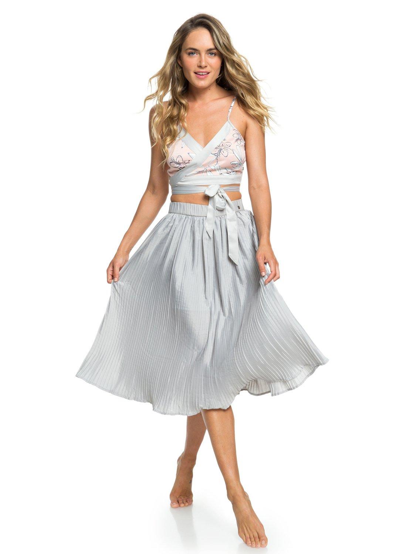 198a074e6 0 H and K To The Sun Pleated Midi Skirt Grey ERJWK03046 Roxy