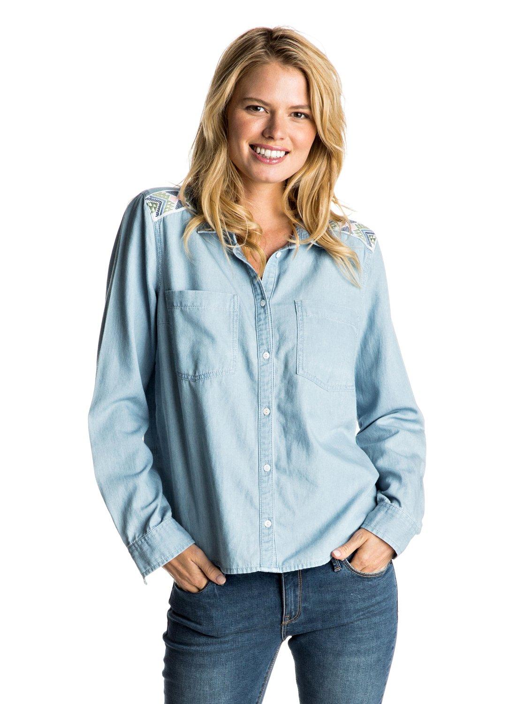 9cb20290ea5 0 Джинсовая рубашка Light Cloudy с длинным рукавом Синий ERJWT03106 Roxy