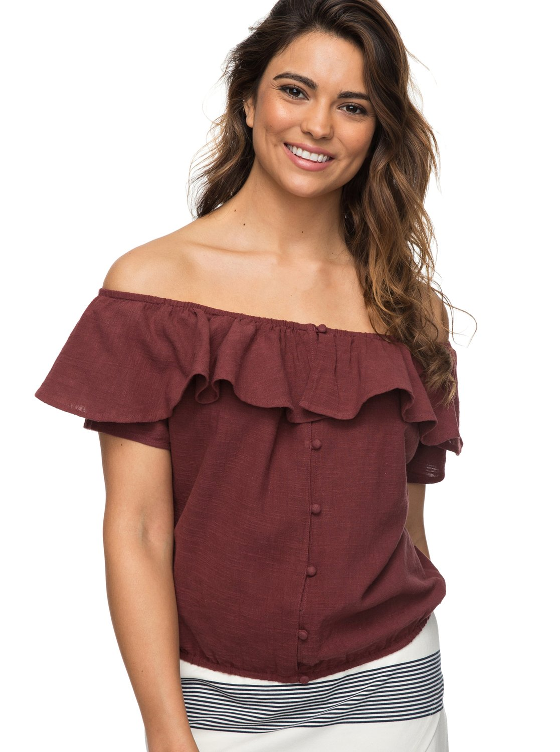 8ec111c0c6b 0 Desert Escape Off The Shoulder Top Red ERJWT03214 Roxy