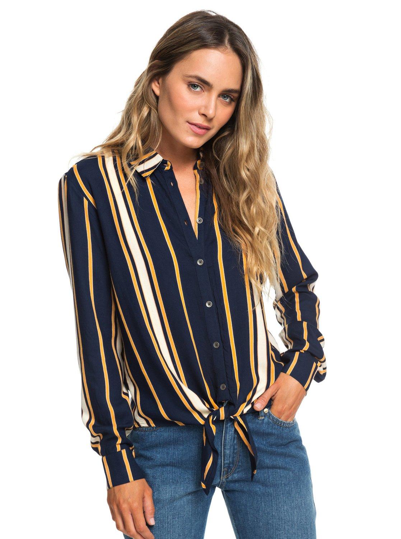c5264edc90f 0 Suburb Vibes - Long Sleeve Tie-Front Shirt for Women Blue ERJWT03305 Roxy