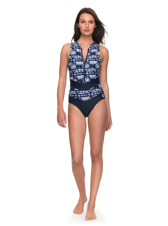 5ccef4ab35f2e 1 ROXY Fitness Colorblock One-Piece Swimsuit ERJX103106 Roxy