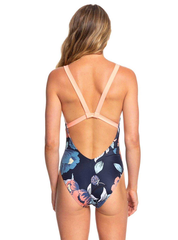 a6cb601628 3 ROXY Fitness One-Piece Swimsuit Blue ERJX103169 Roxy