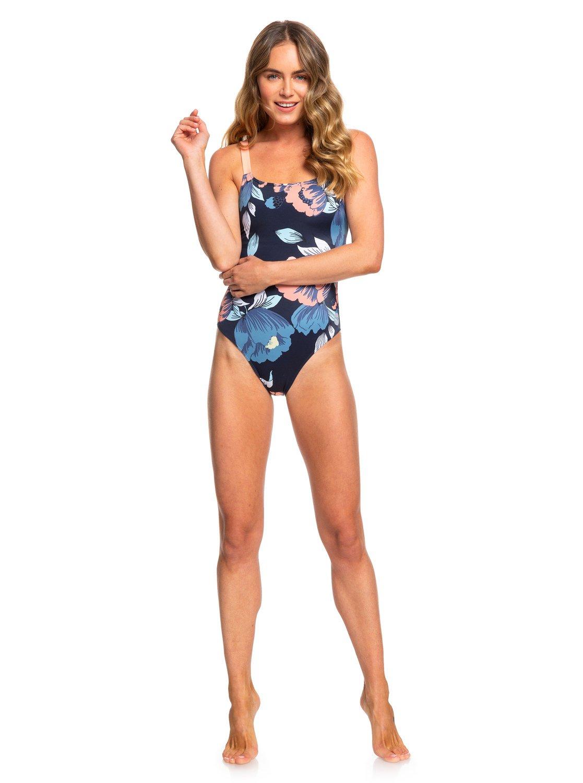 d843c7bbf362b 2 ROXY Fitness One-Piece Swimsuit Blue ERJX103169 Roxy