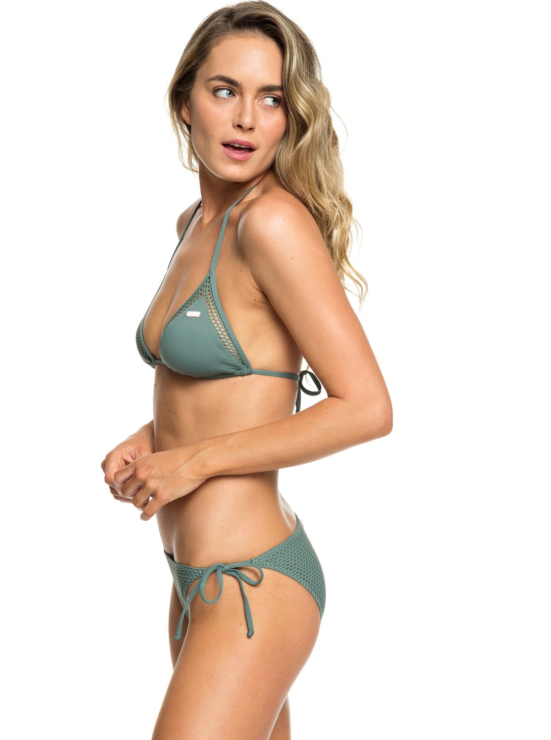 7b8f4faf46 1 Garden Summers - Triangle Bikini Set for Women Green ERJX203338 Roxy