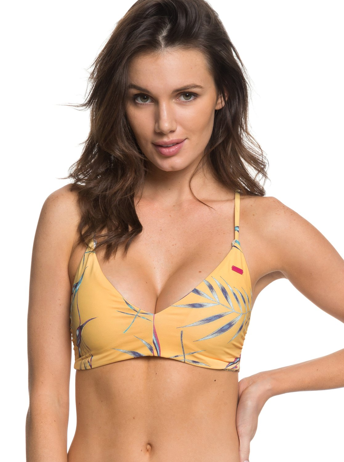4c2d3d2b8b7 0 Softly Love Reversible Athletic Tri Bikini Top Yellow ERJX303681 Roxy