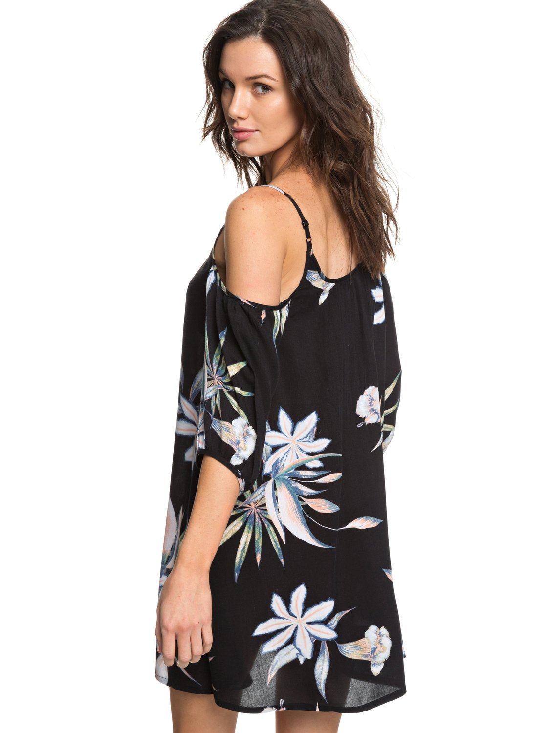 88633f4524 3 Baliana Short Sleeve Beach Dress Black ERJX603130 Roxy