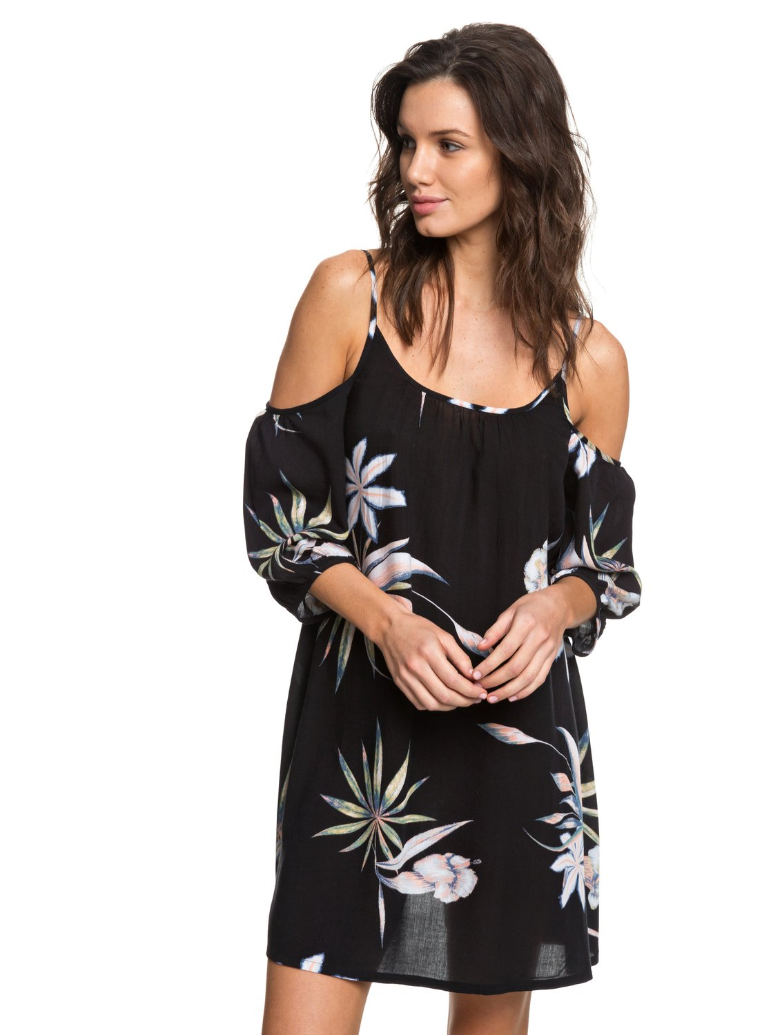 63316b7270 1 Baliana Short Sleeve Beach Dress Black ERJX603130 Roxy
