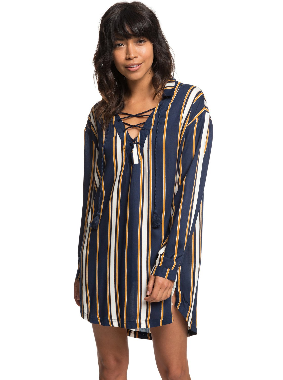 bb8d86f98197 0 Lonely For You - Long Sleeve Shirt Dress for Women Blue ERJX603139 Roxy