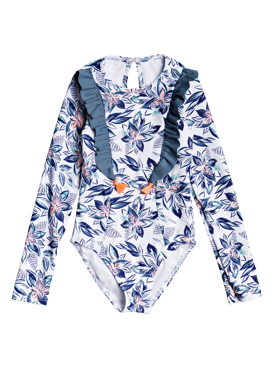 3729b25f116 0 Girl's 2-6 Magic Seeker Long Sleeve UPF 50 One-Piece Swimsuit White