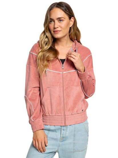 f8208533fbdeb5 Smouldering Flame - Velour Zip-Up Hoodie for Women ERJFT03813