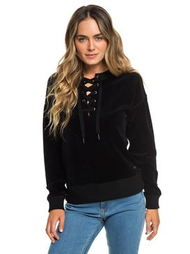 Lucky Sunshine - Lace-Up Velour Sweatshirt for Women  ERJFT03927