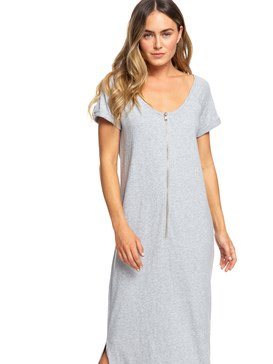 Neptune - Short Sleeve Front Zip Maxi T-Shirt Dress  ERJKD03253