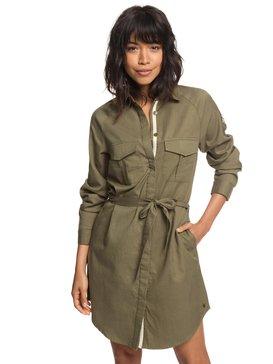 Khaki Sphere - Long Sleeve Shirt Dress for Women  ERJWD03256
