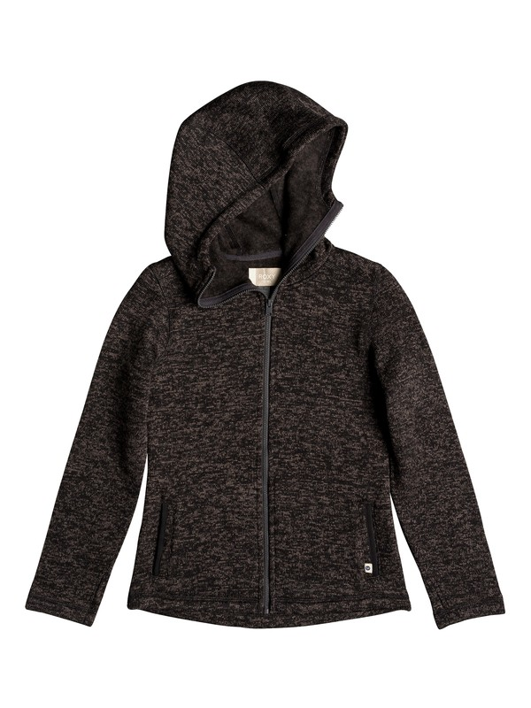 0 Girl's 7-14 Trail Side Zip-Up Hooded Fleece Black ARGFT03068 Roxy