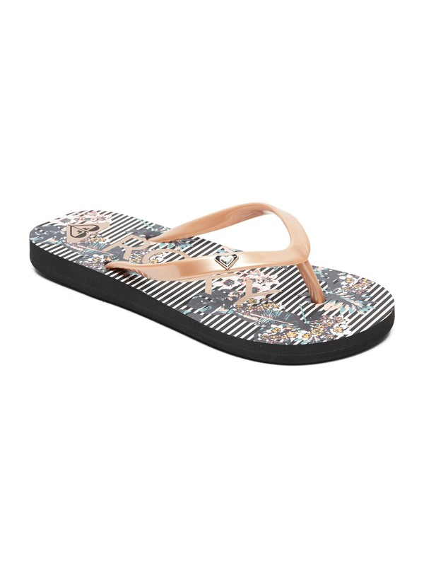 0 Girl's 7-14 Pebbles Flip-Flops Black ARGL100182 Roxy