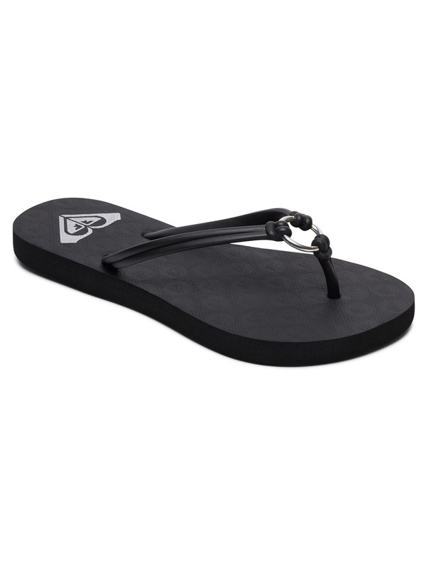 0 Girl's 7-14 Solis Flip-Flops Black ARGL100188 Roxy