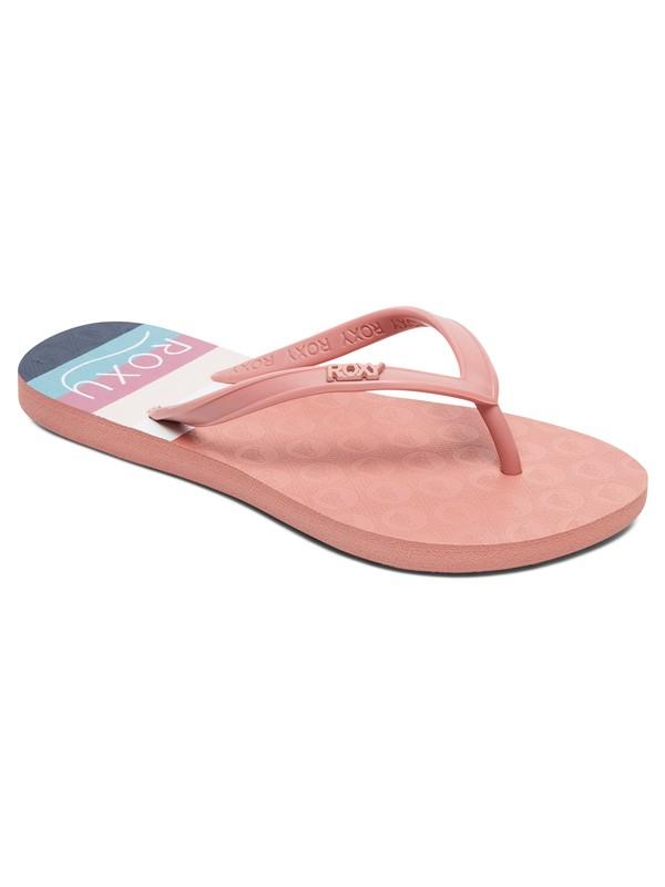 0 Girl's 7-14 Viva Stamp Flip-Flops Pink ARGL100218 Roxy