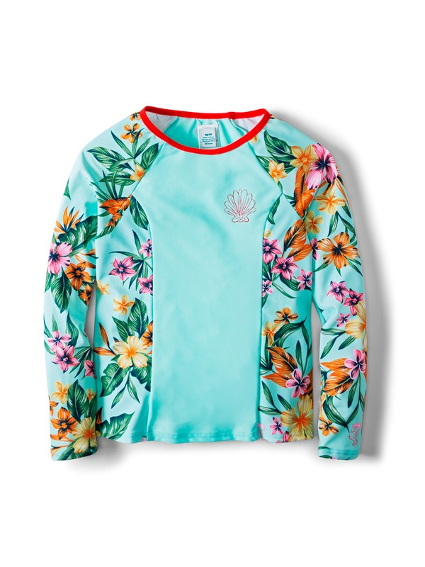 0 Girl's 7-14 Ariel Heritage Floral Long Sleeve UPF 50 Rash Vest Blue ARGWR03043 Roxy