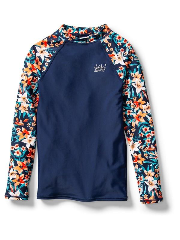 0 Ariel Sebastian Floral Whole Hearted Long Sleeve UPF 50 Rash Vest Blue ARGWR03045 Roxy