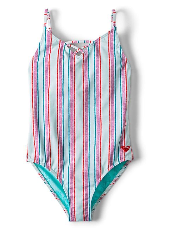 0 Girl's 7-14 Ariel Treasure Stripe One-Piece Swimsuit Blue ARGX103020 Roxy