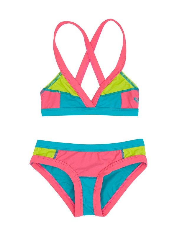 0 Girls 7- 14 Heat & Surf Fixed Criss Cross Tri Set  ARGX200070 Roxy