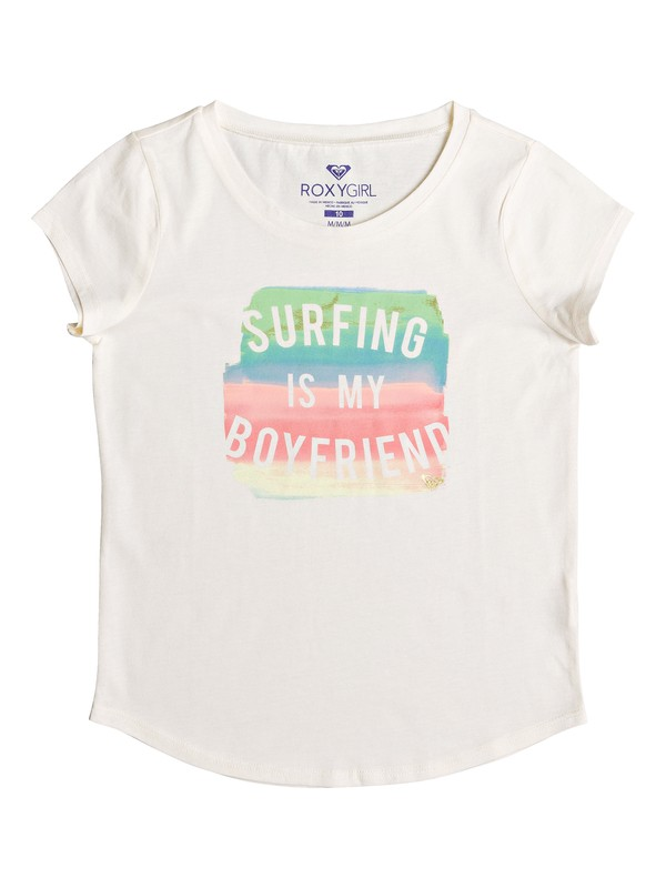 0 Girl's 7-14 Surfing Is My Bf Tee White ARGZT03231 Roxy