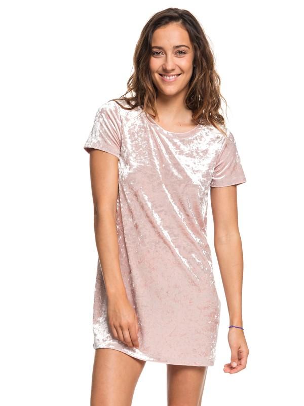0 Cuffing Season Short Sleeve Velvet Dress Pink ARJKD03165 Roxy