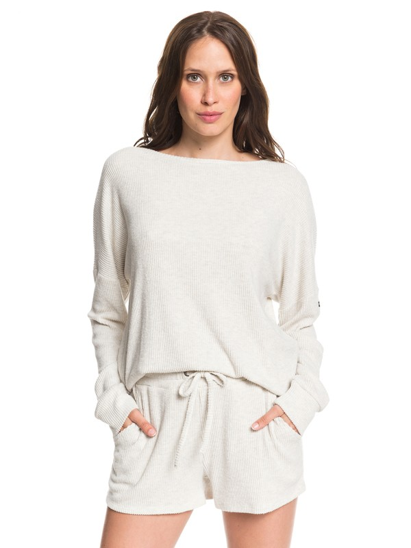 0 Holiday Everyday - Cosy Long Sleeve Rib Knit Top for Women Beige ARJKT03266 Roxy
