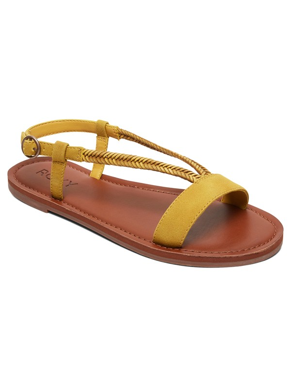 0 Kitty Braided Faux-Suede Sandals Yellow ARJL100765 Roxy