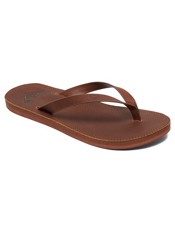 0 Brinn Leather Flip-Flops Brown ARJL200689 Roxy