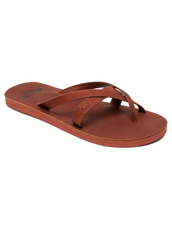 0 Gemma Leather Sandals Brown ARJL200690 Roxy