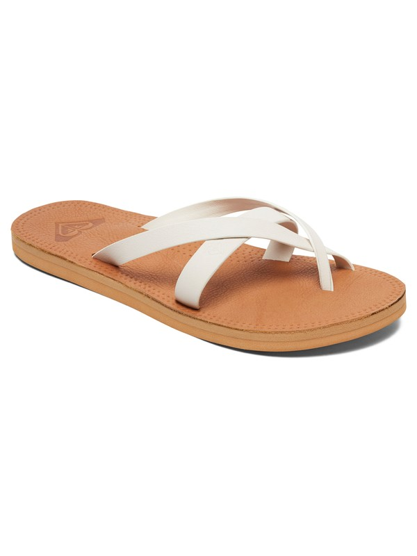 0 Gemma - Leather Sandals for Women White ARJL200690 Roxy