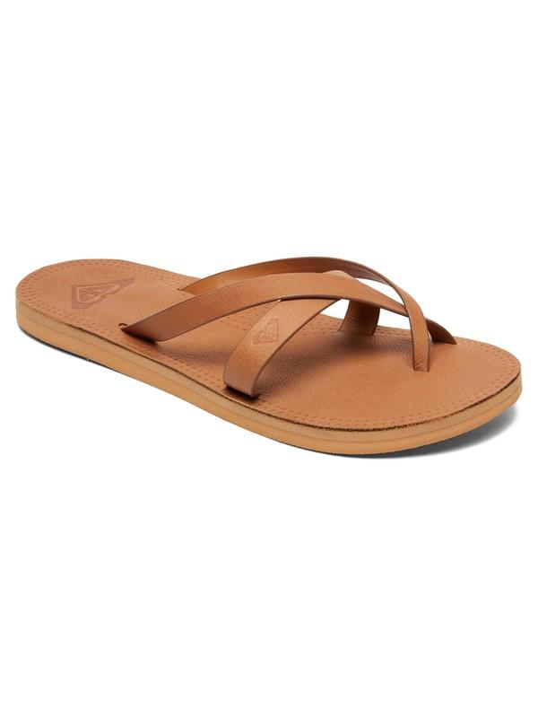 0 Gemma Leather Sandals Beige ARJL200690 Roxy