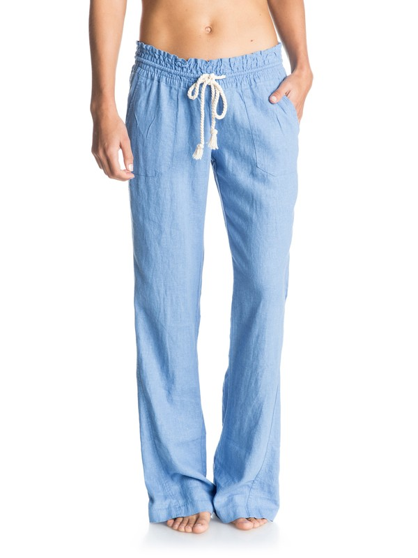 0 Oceanside Flared Linen Pants Blue ARJNP03006 Roxy