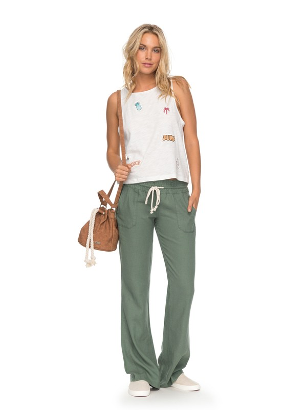 0 Oceanside Flared Linen Pants Green ARJNP03006 Roxy