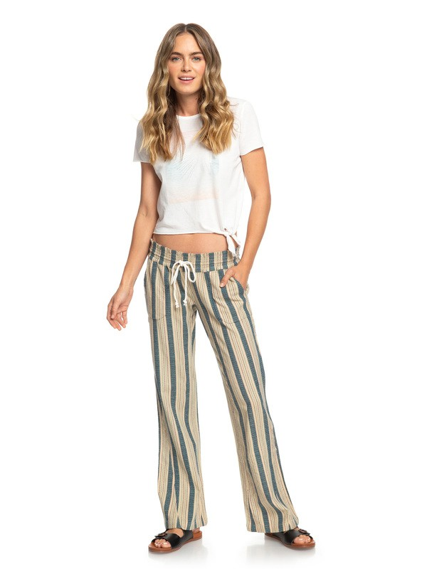 0 Oceanside - Flared Beach Pants Beige ARJNP03133 Roxy