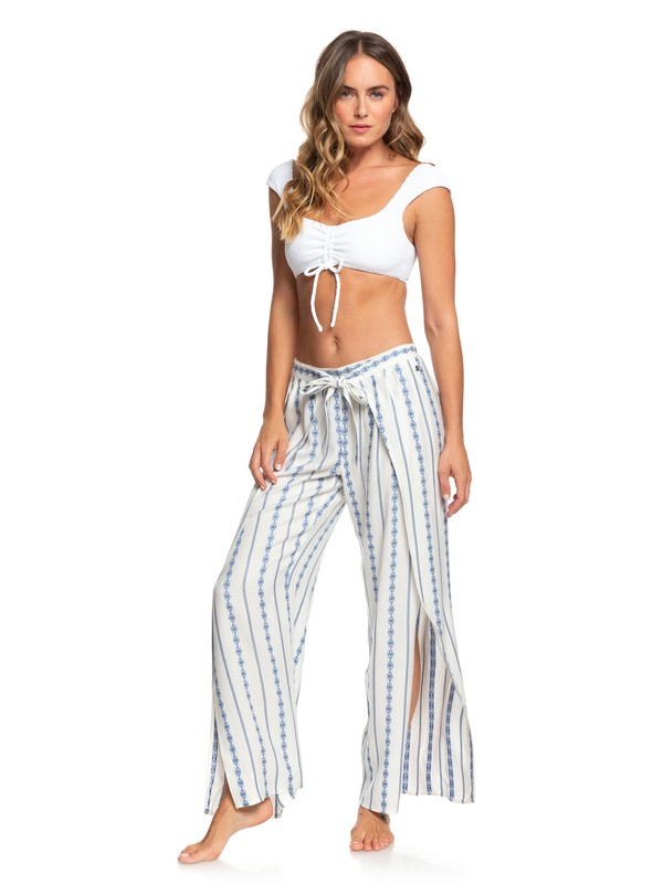 0 Olivia Tie-Front Viscose Pants Blue ARJNP03135 Roxy