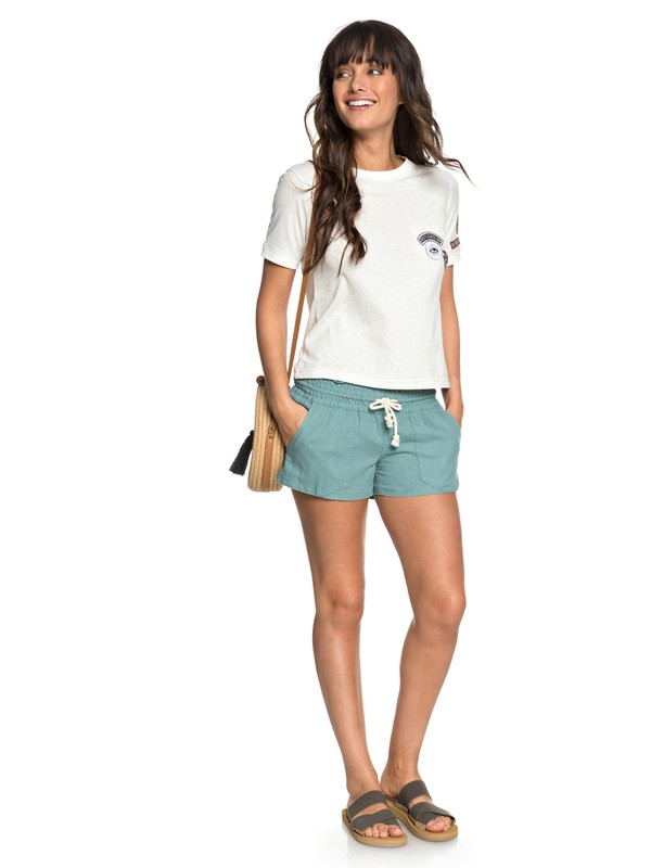 0 Oceanside Linen Beach Shorts Blue ARJNS03007 Roxy