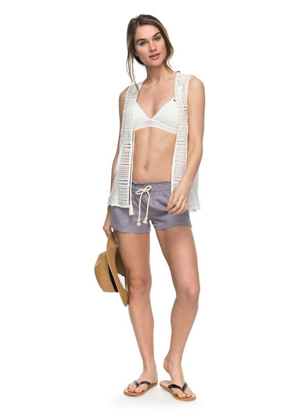 0 Oceanside Linen Beach Shorts Grey ARJNS03007 Roxy